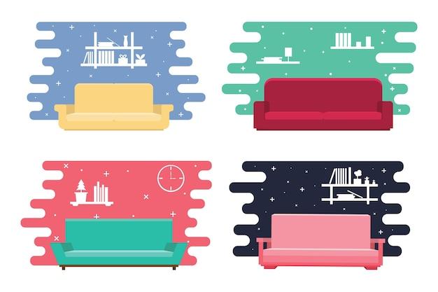 Pack-sofa-innenarchitektur für hintergrund