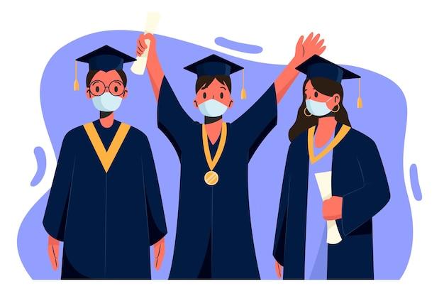 Pack von absolventen, die medizinische masken tragen