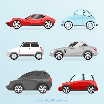 Pack von autos mit unterschiedlichem design