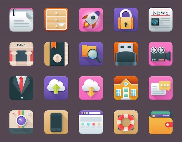 Pack von business-app-symbolen