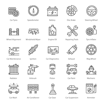 Pack von car service line icons