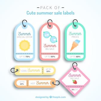Pack von fantastischen sommerverkaufs-tags