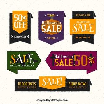 Pack von halloween-verkaufs-tags