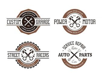 Pack von Retro-Service-Reparatur-Abzeichen