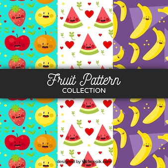 Pack von schönen fruchtmustern