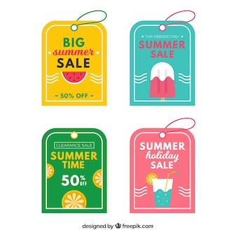 Pack von schönen sommerverkaufs-tags