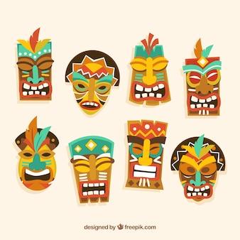 Pack von tiki masken in flachem design