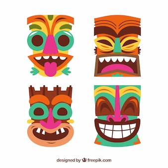 Pack von tiki masken in flachem design