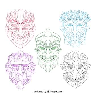 Pack von tiki masken von farben von hand gezeichnet