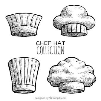 Pack von vier vintage chef hüte
