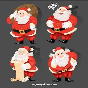 Pack von vier weihnachtsmann-figuren