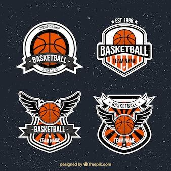 Pack von vintage-basketball-aufkleber