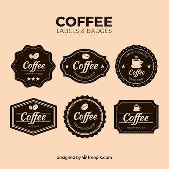 Pack von vintage-kaffee aufkleber