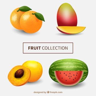 Packen sie exotische früchte im realistischen stil