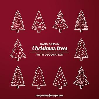 Packen sie mit verschiedenen arten von weihnachtsbäumen