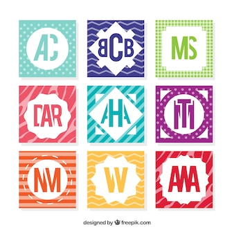 Packung abstrakte farbige monogramme
