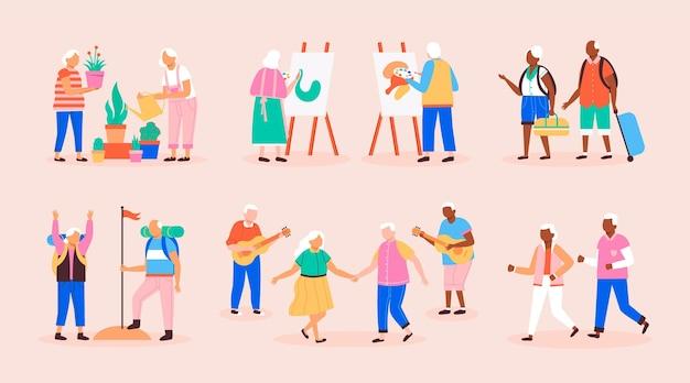 Packung aktiver älterer menschen