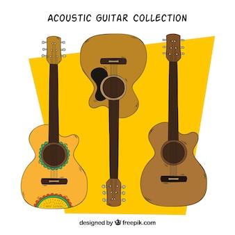 Packung akustikgitarren in handgezeichneten stil