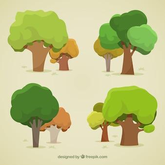 Packung bäume im 2d stil