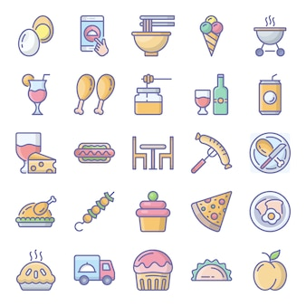 Packung barbecue flache icons pack