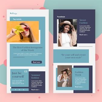 Packung blogger-e-mail-vorlage mit fotos
