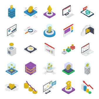 Packung cryptocurrency isometric icons