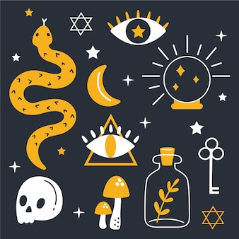 Packung esoterischer elemente konzept