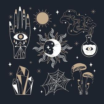 Packung esoterischer elemente