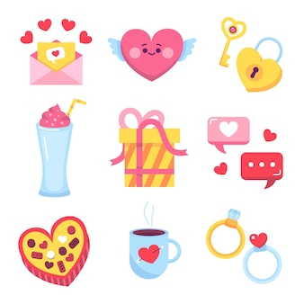 Packung flache design valentinstag elemente