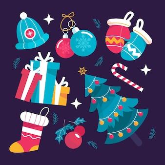 Packung flache design-weihnachtselemente