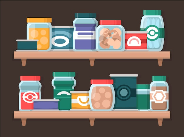 Packung flache speisekammer mit verschiedenen lebensmitteln
