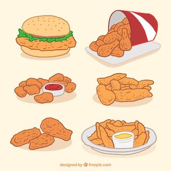 Packung gebratenes huhn und hamburger