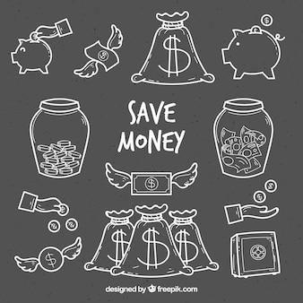 Packung geld skizzen