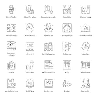 Packung gesundheitswesen linie icons pack