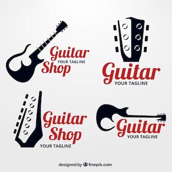 Packung gitarrenlogos mit silhouetten
