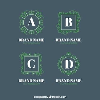Packung grüne monogramme logos