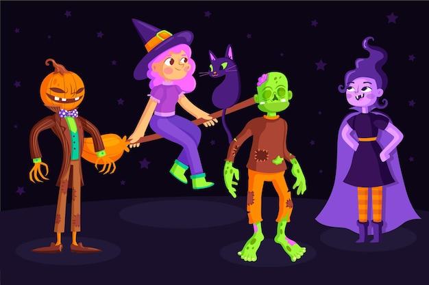 Packung halloween-charakter in flachem design