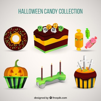 Packung halloween kuchen und süßigkeiten