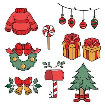 Packung handgezeichnete weihnachtselemente