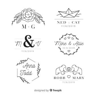 Packung hochzeit monogramm logos