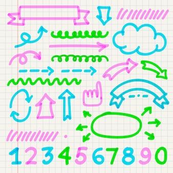 Packung infografik-elemente der schule mit bunten markierungen