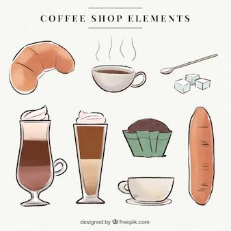 Packung kaffee mit handgezeichneten aquarell süßigkeiten
