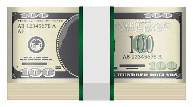 Packung mit 100-dollar-banknoten auf weißem hintergrund