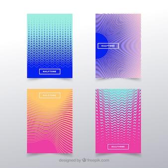 Packung mit abdeckungen mit abstrakten linien