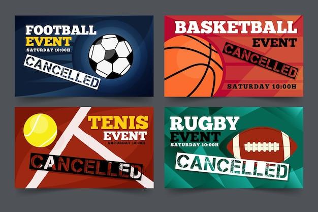Packung mit abgesagten bannern für sportveranstaltungen