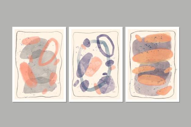 Packung mit abstrakten aquarellabdeckungen