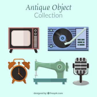 Packung mit alten artefakten in flaches design