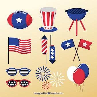 Packung mit amerikanischer dekoration