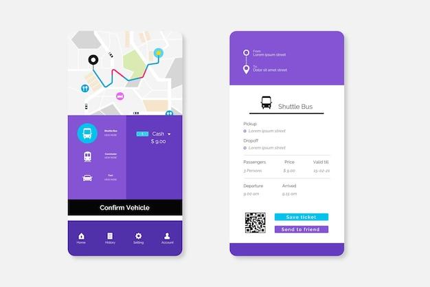 Packung mit app-bildschirmen für öffentliche verkehrsmittel