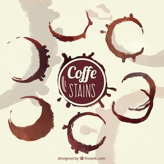 Packung mit aquarell kaffeeflecken